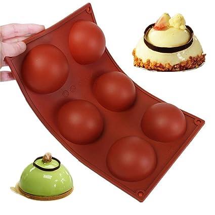 Wady Molde de 6semiesferas grandes de silicona plana antideslizante para cocinar pasteles
