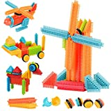 #8: AMOSTING Bristle Blocks Building Set Educational Stacking Bath Toys for Toddlers Kids – 150pcs with Storage Bag