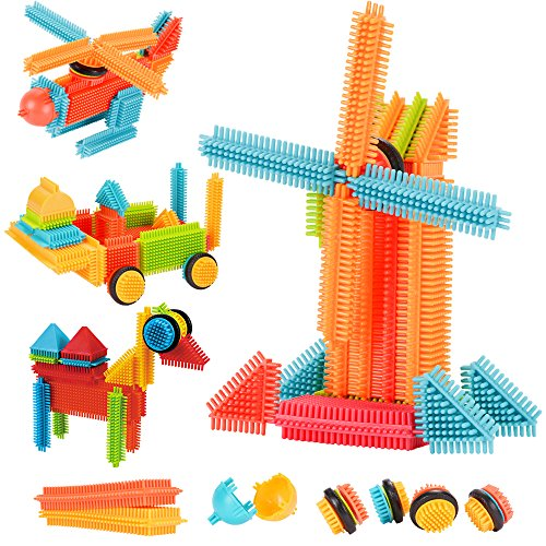 Toy Building Block Set - AMOSTING Building Blocks Set Educational Stacking Bath Toys for Toddlers Kids – 150pcs with Storage Bag