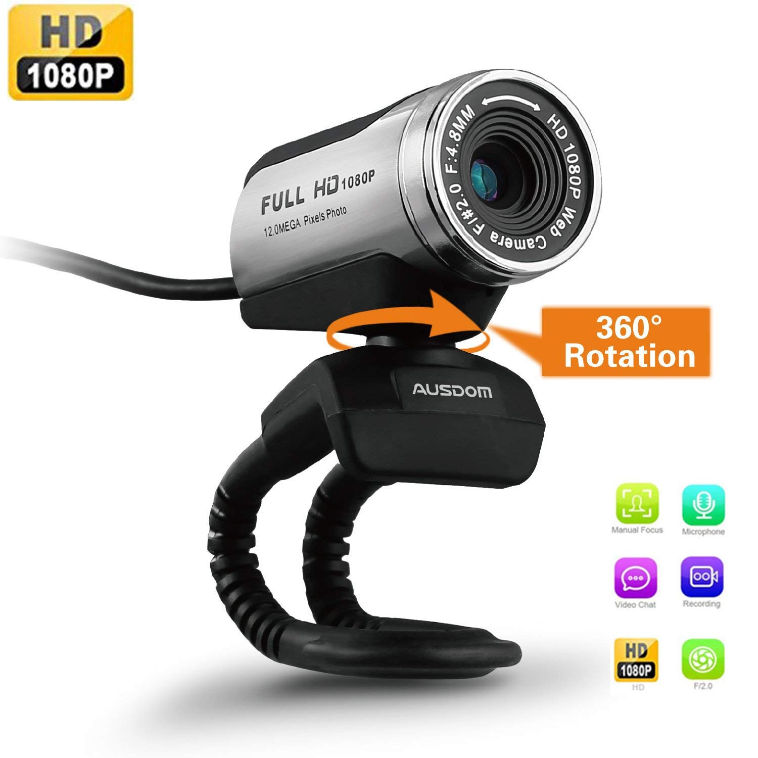Webcam HD Ausdom® Camera USB 1080p avec micro son pour PC/vlog/youtube Mise au point Manuellement , Plug et Play Windows XP / Vista / 7 / 8 / 10 AW615T