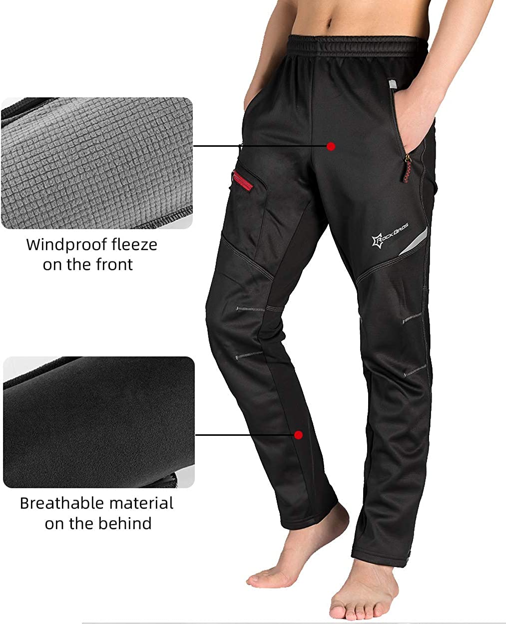 Details about  /ROCKBROS Bike Pnats Thermal Fleece Winter Cycling Sportswear Reflective Trousers