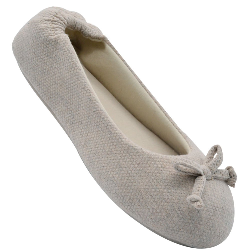 Wishcotton Women's Cozy Memory Foam Breathable Cotton Terry Lining Washable Ballerina Style Slippers Anti-Skid House Indoor Shoes (L, Beige)