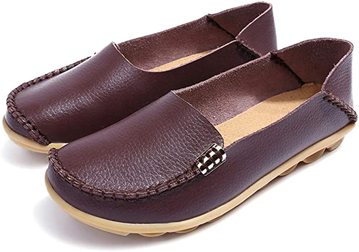 Ladies Leather Shoes New Wedge Heels Boat Deck Loafers Comfort Driving Moccasins