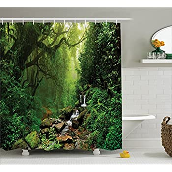 Rainforest Decorations Shower Curtain Set By Ambesonne Forest In Nepal Footpath Wildlife Spring Plant And