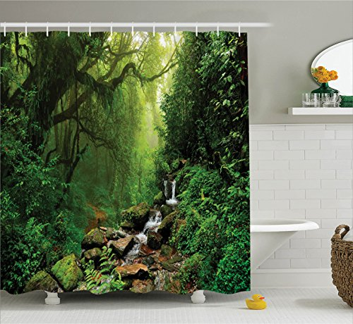 Ambesonne Zen Fresh Shower Curtain Forest Decor by, Forest in Nepal Footpath Wildl Spring Plant and Stones Moisture Water Art Print, Fabric Bathroom Set with Hooks, 84 Inches Extra Long, Green Brown