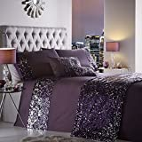 Luxury Sparkling Sequin Double Bed Duvet Quilt Cover Bedding Set Dazzle Amethyst by Portfolio