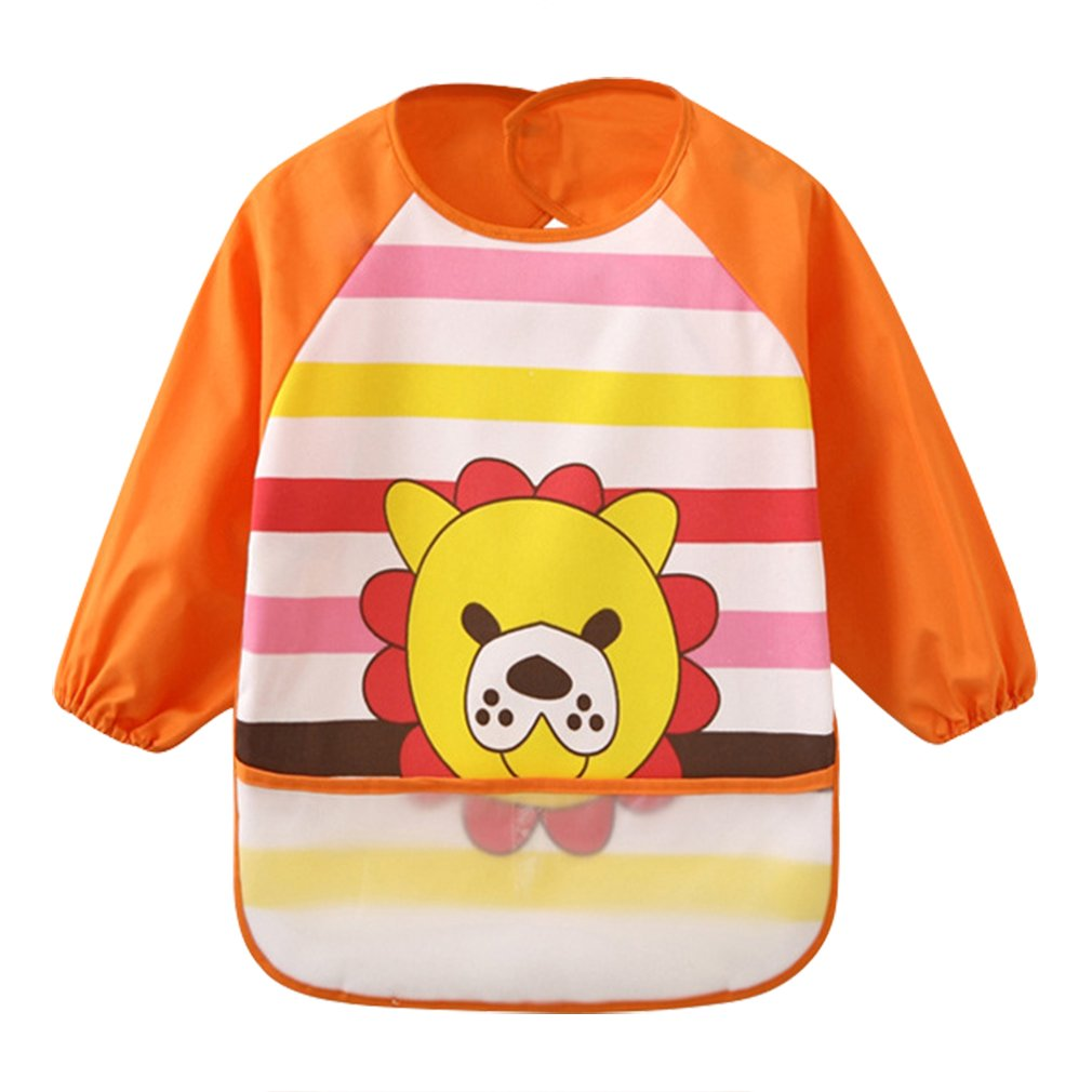 Bibs Clothing & Accessories La Vogue Toddler Baby Waterproof Bibs Cute Cartoon Sleeved Bib Apron With Big Roll Up Pocket