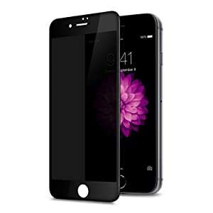 TECHO Privacy Screen Protector for iPhone 8 Plus 7 Plus, Anti Spy 9H Tempered Glass, Edge to Edge Full Cover Screen Protector [Anti-Fingerprint] [Full Coverage] (Black)
