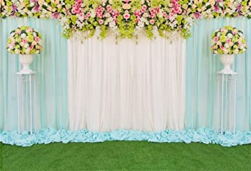 7x10 FT Wedding Vinyl Photography Background Backdrops,Grid Style Squares with Joined Hearts Love and Affection Illustration Background for Child Baby Shower Photo Studio Prop Photobooth Photoshoot