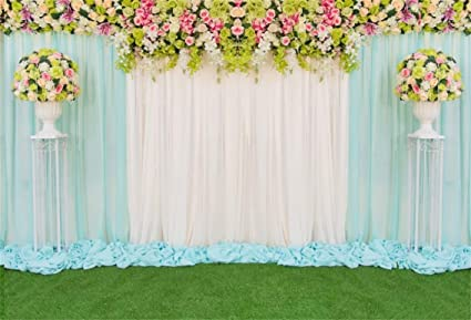 Leyiyi 6x4ft Wedding Ceremony Nature Park Backdrop Luxury Marriage Stage Curtain Floral Garland Grassland Background Engagement Bouquet Bridal Shower