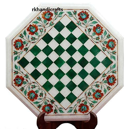 White Octagon End Table Top Cum Chess Table Inlay Work with Semi Precious Stone Border Floral Design 12 Inches