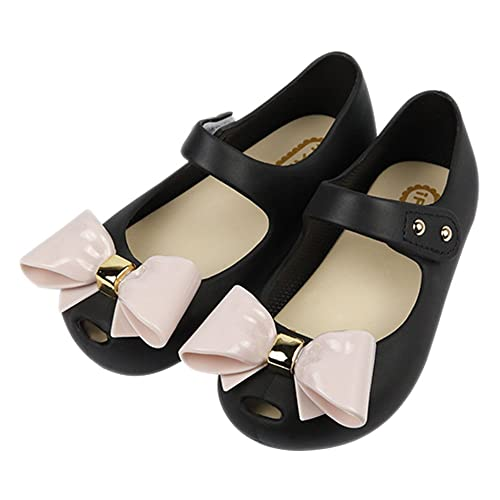 iFANS Girls Candy Color Cute Bow Princess Mary Jane Flats for  Toddler Little Kid Black