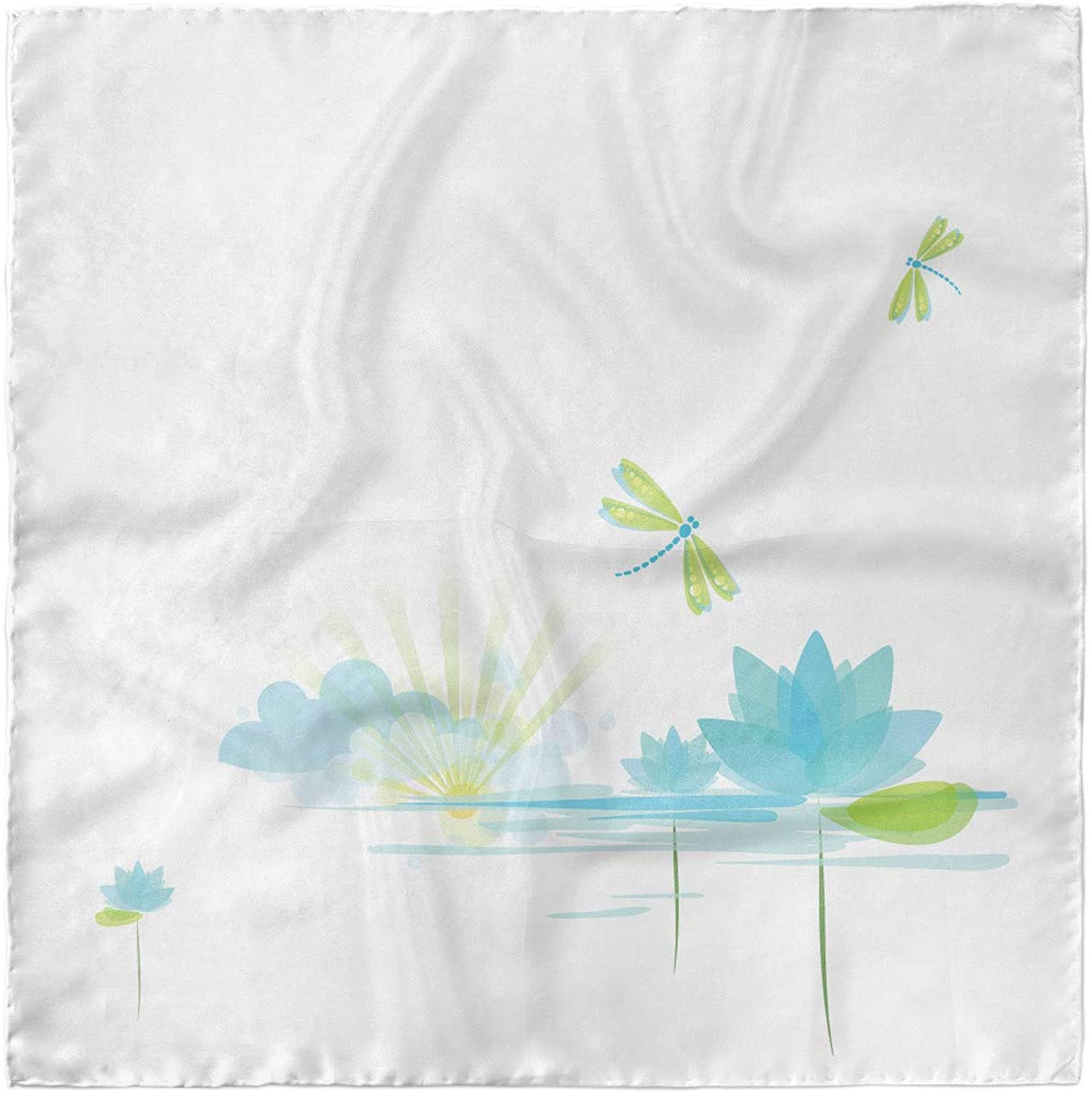 Ambesonne Dragonfly Headscarf Hijab Scarf Waterlily Nature Lake