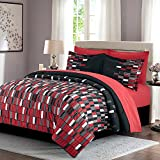 HollyHOME Red Check 8-Piece Bed in Bag Comforter Set, Queen