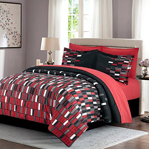 HollyHOME Red Check 8-Piece Bed in Bag Comforter Set, Full