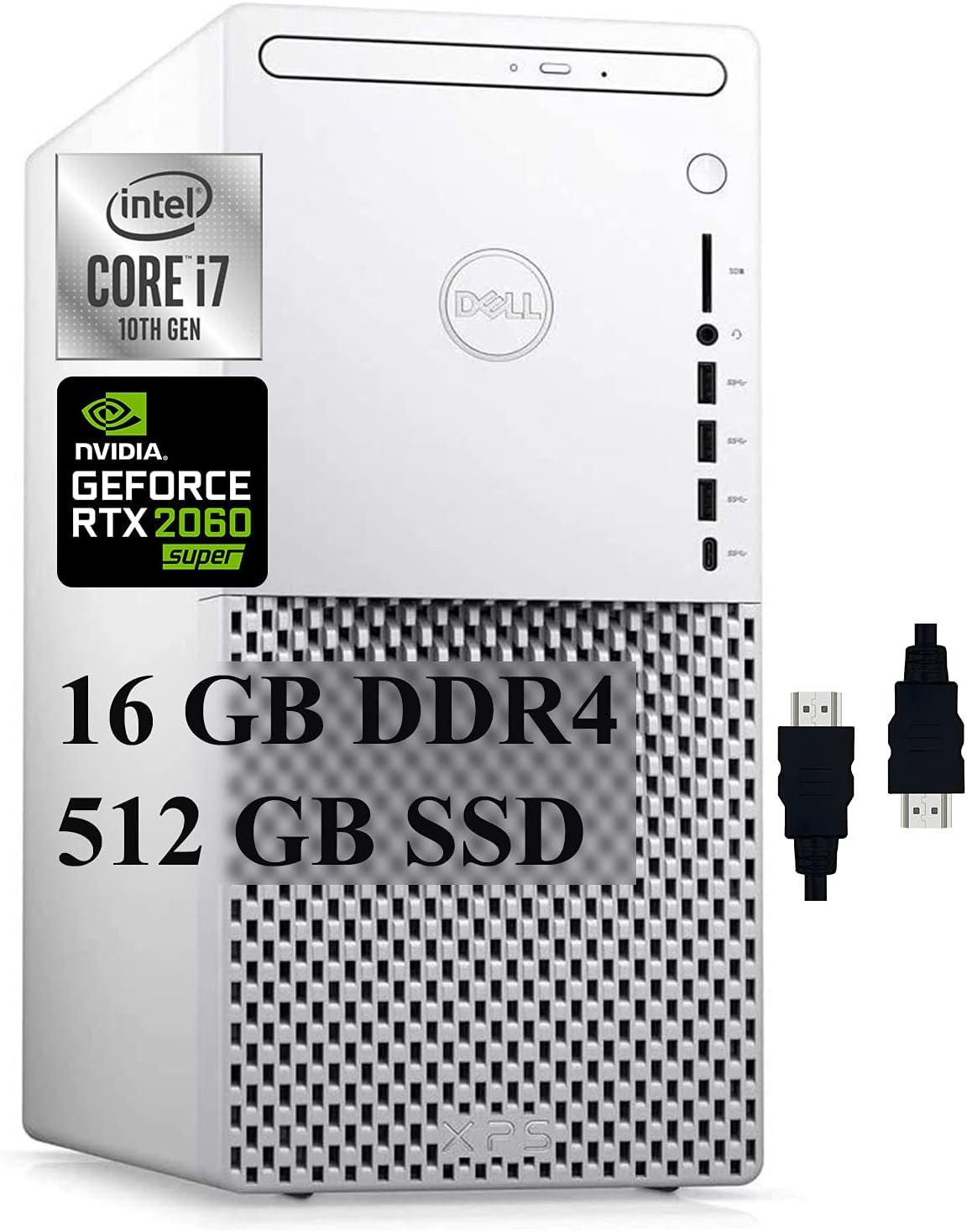 Dell XPS 8940 Special Edition 2021 Premium Gaming Tower Desktop I 10th Gen Intel 8-Core i7-10700 I 16GB DDR4 512GB SSD I Geforce RTX 2060 Super 8GB I DVD-RW USB-C WiFi Win10 + Delca HDMI Cable