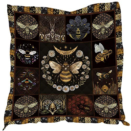 3D Printed King Quilt Queen Quilts Kids Size Quilted Placemats Quilted Throw Blanket Outdoor Picnic Camping Mat Beach Camp Sleeping Mattress (Queen,Bee)