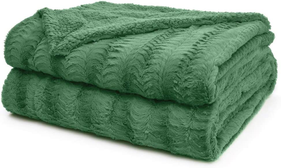 The Connecticut Home Company Faux Fur Bed Throw Blanket, Queen or Full, 90x90, Many Colors, Super Soft, Large Plush Luxury Reversible Blankets, Warm Hypoallergenic Washable Throws for Beds, Green