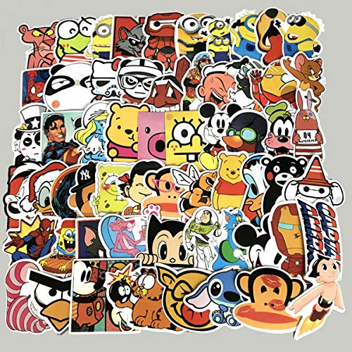 60PCS Waterproof Cute Cartoon Vinyl Stickers for Laptops Folders Water Bottle Decals Toys for Kids