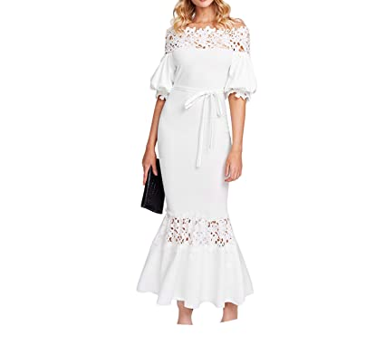 860e7d0c389 White Off The Shoulder Bishop Sleeve Sheath Half Sleeve Guipure Lace Panel  Self Belted Trumpet