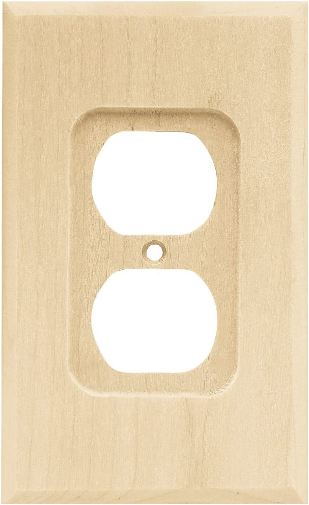 Franklin Brass W10397-UN-C Square Single Duplex Wall Plate/Switch Plate/Cover, Unfinished Wood