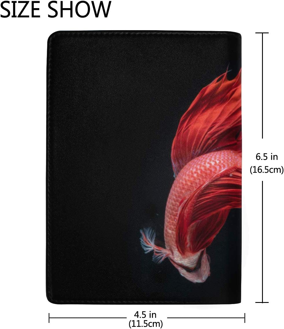 Beautiful Action Of Fighting Fish Blocking Print Passport Holder Cover Case Travel Luggage Passport Wallet Card Holder Made With Leather For Men Women Kids Family