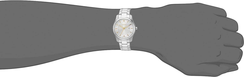 Wenger Herren 'City Classic' Swiss Quarz Edelstahl Leder Casual Uhr Silberfarbenes Zweifarbiges Zifferblatt, Armband aus Edelstahl.