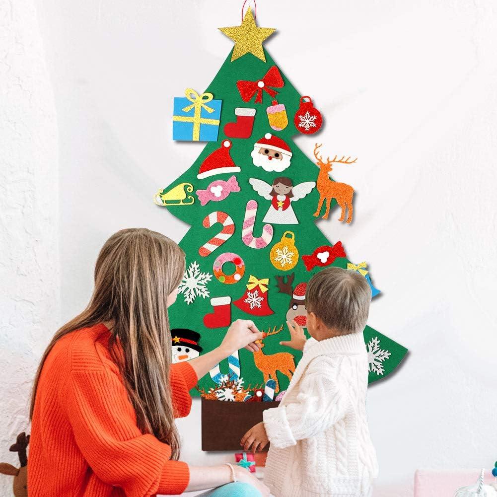 3D Albero di Natale aggiornato del Bambino con Gli Ornamenti del Pupazzo di Neve per i Bambini Regali di Natale Decorazioni di Natale di Nuovo Anno OurWarm Albero di Natale in Feltro Fai da Te