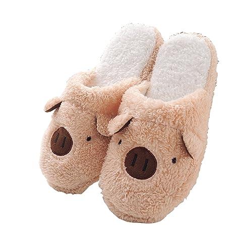 22cb79491c33 Women Teen Girls 3D Animal Coral Fleece Slippers Mules Cozy Warm Slip-On  Winter House