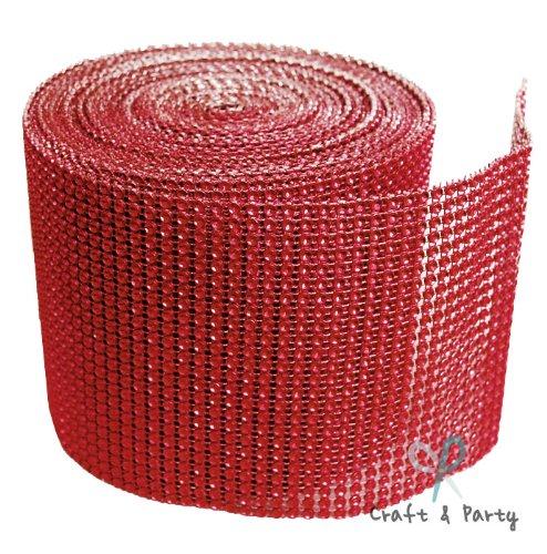 Diamond Mesh Wrap Roll Rhinestone Crystal Ribbon 4.5 x 10 yards (Red)