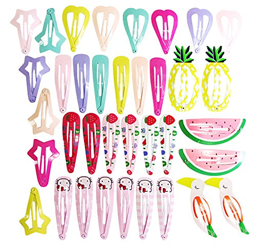 Hipgirl 36pcs (18 Pairs) 1.6 - 2 Inch Snap Hair Clips--Boutique No Slip Grip Printed Metal Barrettes for Girls Teens Toddlers Babies Children Kids Women Adults Beauty Accessories Assorted Color Beauty Accessories