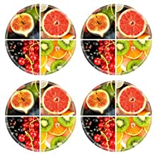 Liili Natural Rubber Round Coasters Image ID 35715275 Fruits and berries in colorful collage