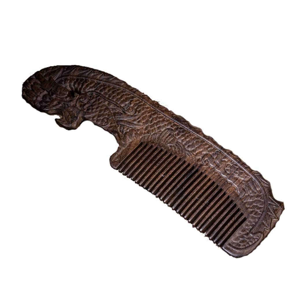 Comb Carved Sandalwood Anti-Static Massage Head by Comb