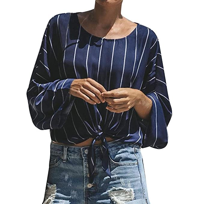 ALIKEEY Camisa Casual De La Blusa del Vendaje Impresa Rayado Cuello Redondo Manga Larga Las Mujeres