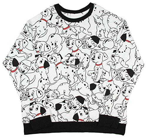 Disney 101 Dalmatians Allover Pattern Juniors Long Sleeve Pullover Top (X-Small)