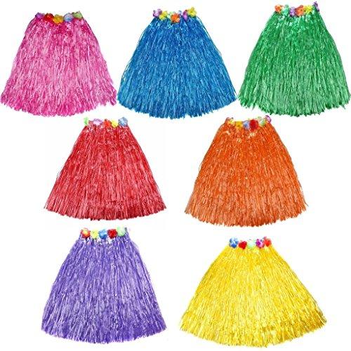 10pc/lot Different Colors Hawaiian Adult Luau Flowered Grass Skirt, 23 inch Long Hula Skirt -