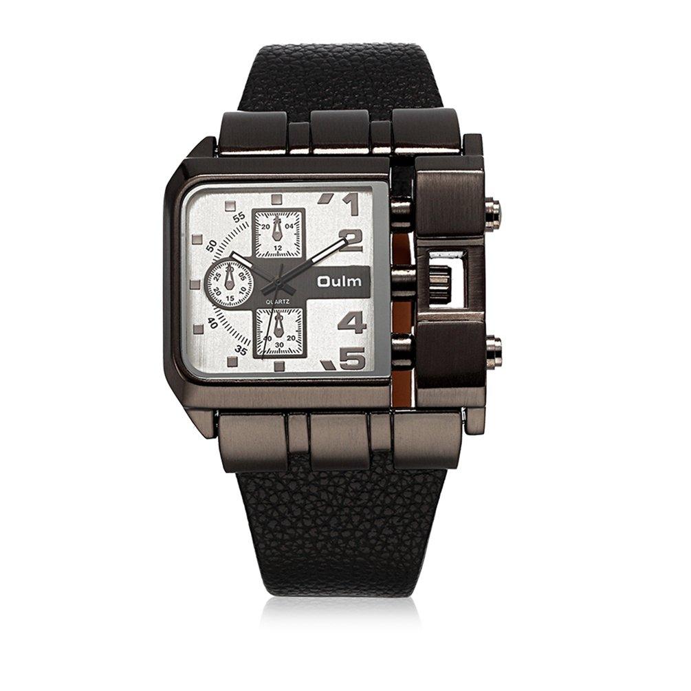 Men 's Unique Military Watches Big合金面アナログ腕時計カジュアルデザインwith純正レザーストラップ White Dial B071J9Q7CC White Dial White Dial