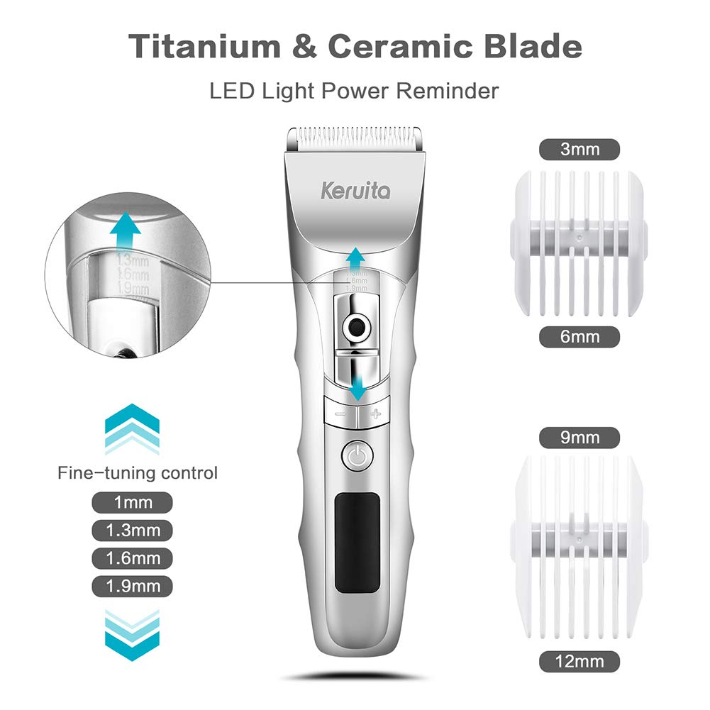 Cordless Hair Clippers, High Performance Hair Trimmer Haircut Kit for Men (White)