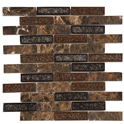 (Modket TDH175MO Emperador Dark Brown Marble Stone Mosaic Tile, Crackle Glass Blended Brick Joint Pattern Backsplash)