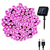 woohaha Solar Fairy String Lights Outdoor Waterproof, 72ft 200LED Updated Version 6hrs Timer Function with USB Cable Solar Powered String Lights for Christmas Patio Garden Party(Pink)