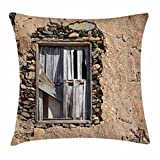 Lunarable Shutters Throw Pillow Cushion Cover, Photo of an Old House Window Frame Barred with Wooden Planks in a Vintage Stone Wall, Decorative Square Accent Pillow Case, 40 X 40 inches, Khaki