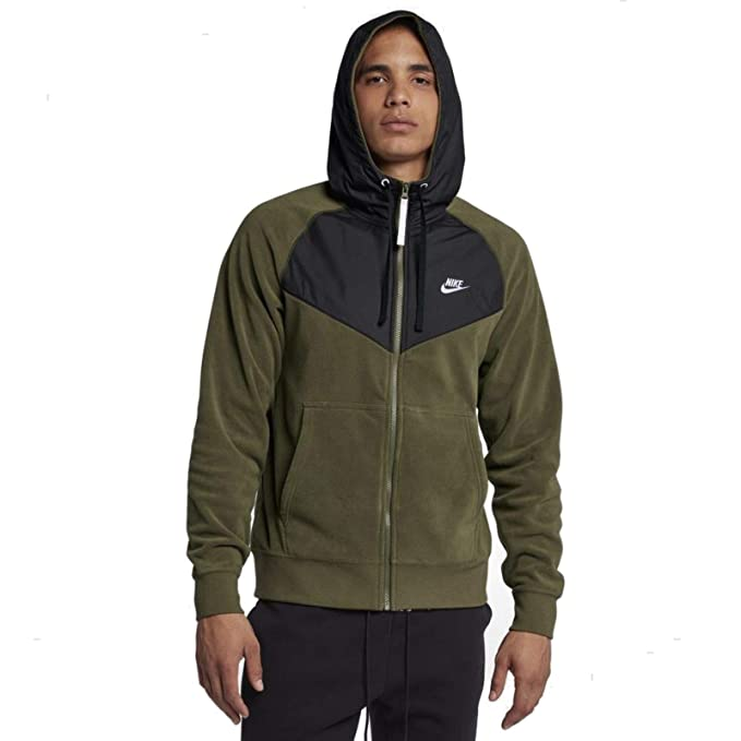 78d045994 NIKE Sportswear Club Mens Full Zip Hoodie Olive/Black/White 929114-395 (