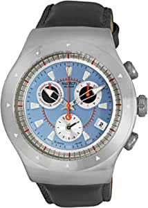 Swatch Men's Blue Dial Leather Band Watch - YOS421C
