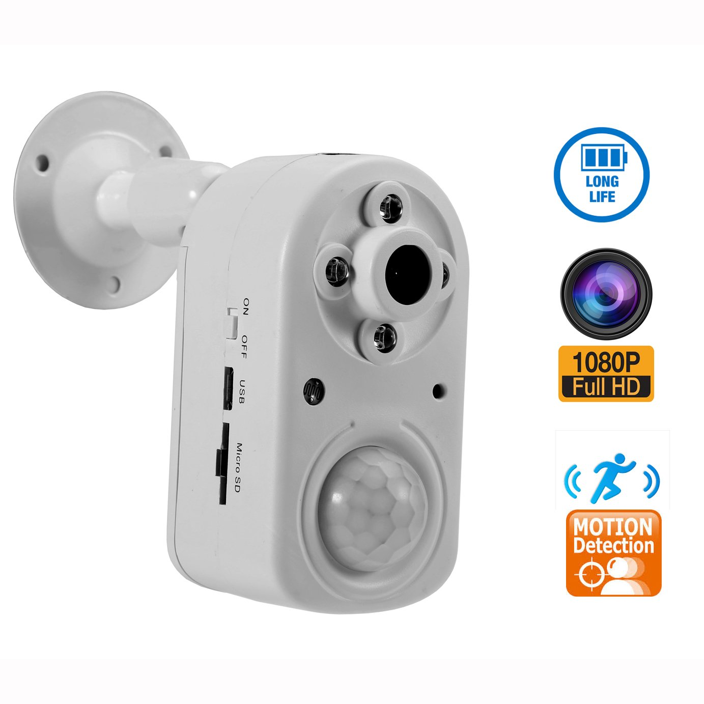 Motion Detection Security Camera,eoqo 1080P PIR Sensor Camera with Night Vision,Battery Powered Home Surveillance Camera Support 24 Months Standby Time