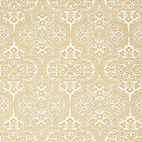 Sunbrella Indoor/Outdoor Large Scale Medallion Pattern Upholstery Fabric by The Yard Bombay Dreams Cornsilk by - Damask Bombay