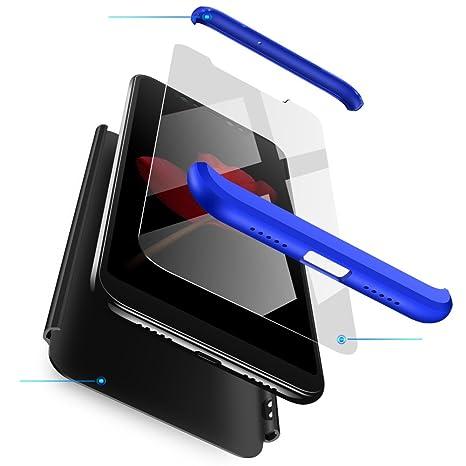 Compatible Xiaomi Redmi Note 5Pro Funda(2018)Carcasa 360° ultra fina Protectora cojín+Vidrio Templado Pantalla Protector,3 in 1 PC Hard Caja Caso Skin ...