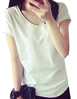 ONTBYB Women's V-Neck Short Sleeve Solid Color T-Shirts Blouse White M