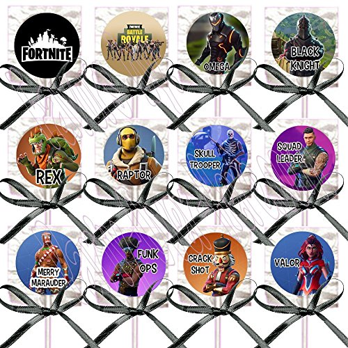 FORTNITE Battle RoyaleLollipops Party Favors Supplies Decorations Lollipops with Black Ribbon Bows Party Favors -12 pcs, Video Game Truck Party