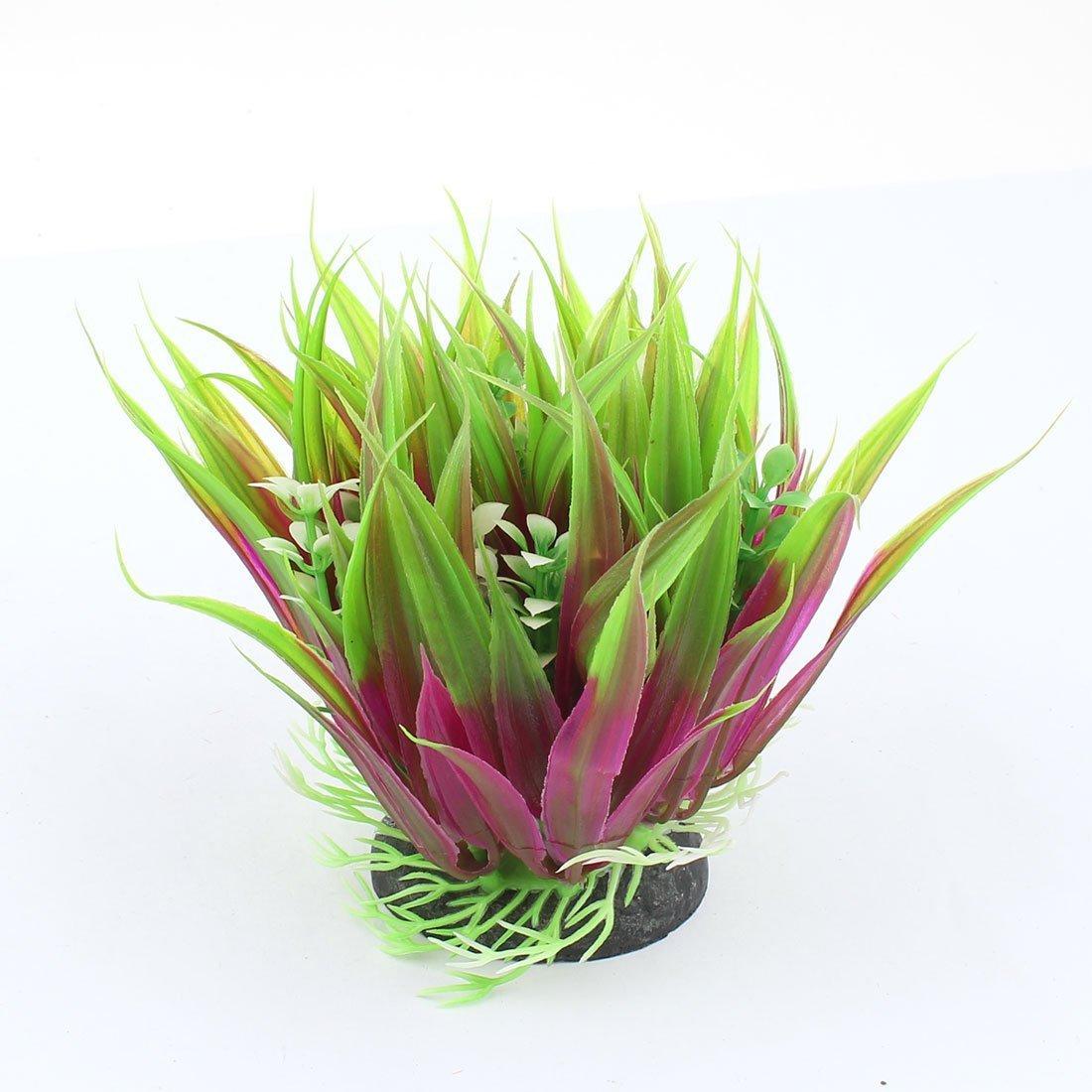 1Pc Aquarium Artificial Water Grass Plant Decor 12cm High Green Purple