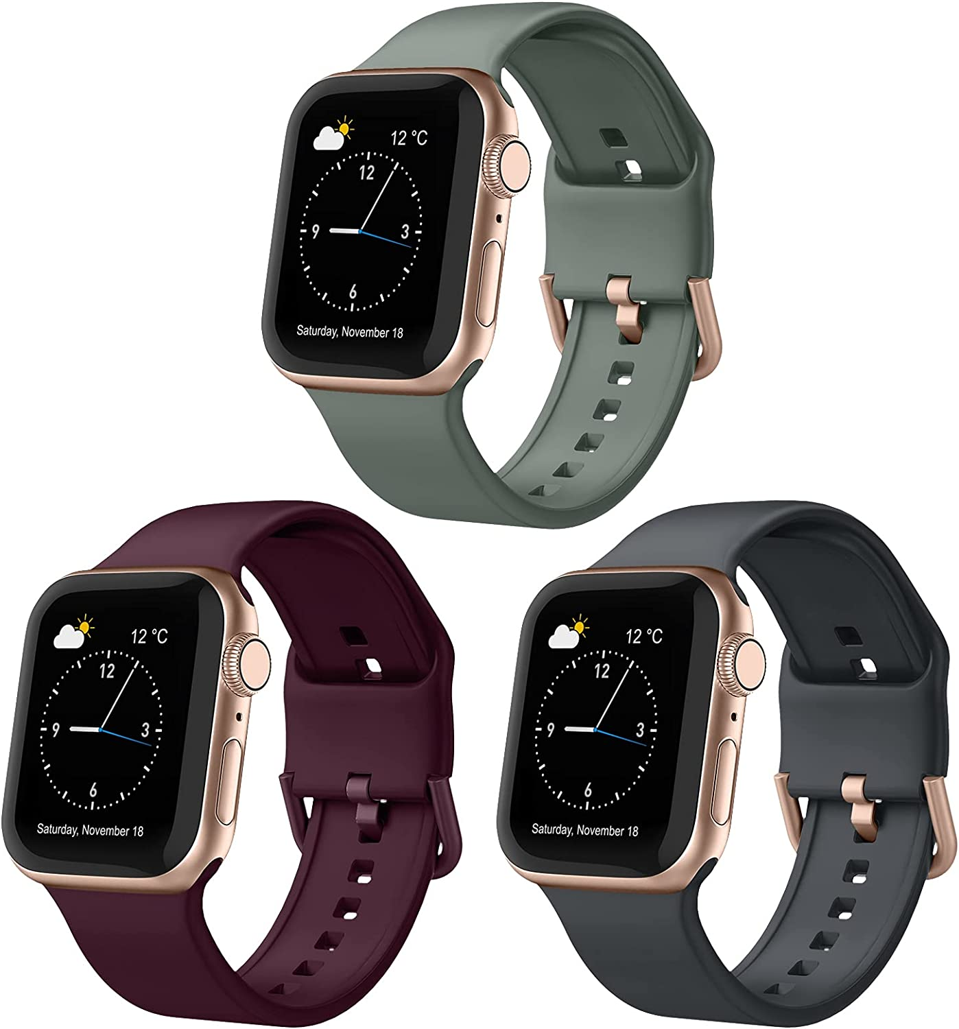 Adepoy 3 Pack Compatible with Apple Watch Bands 44mm 42mm, Soft Silicone Sport Wristbands Replacement Strap with Classic Clasp for iWatch Series SE 6 5 4 3 2 1 for Women Men, 42mm/44mm